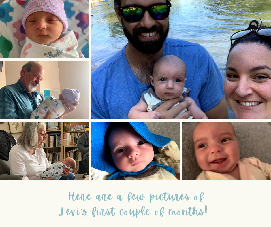 images of a baby and their family members. The text at the bottom of the photo reads Here are a few pictures of Levi's first couple of months!